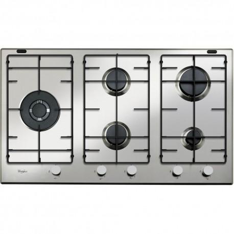 Table de cuisson 90 cm 5 feux a gaz whirlpool - Table de cuisson gaz 5 feux inox 90 cm ...